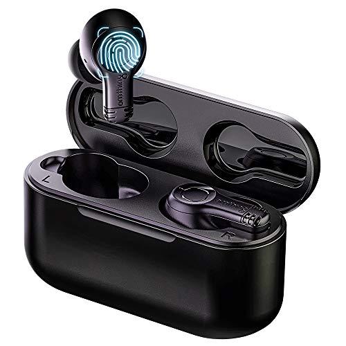 omthing Auriculares inalámbricos con micrófonos para llamadas telefónicas claras, Bluetooth 5.0 con graves profundos y control táctil, aislamiento de ruido, tiempo de reproducción de 20 h por 1MORE